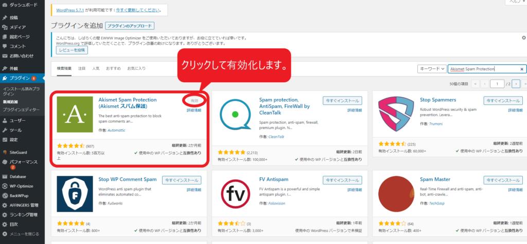 Akismet Spam Protectionを有効化する